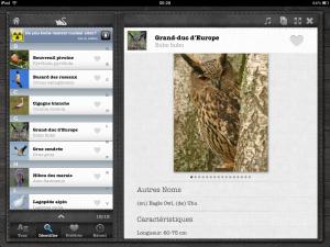Application Les oiseaux Pro HD free sur iPad